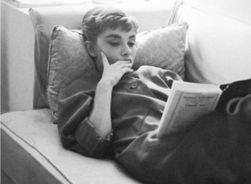 Audrey Hepburn reading
